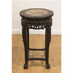 :Chinese Teakwood Marble Top Stand
