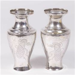 Pair Chinese Silver Vases with Etched Peacocks