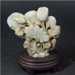 Carved Stone Sculpture of Fish & Plant Life