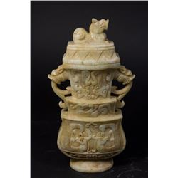 Carved Chinese Soapstone Covered Urn