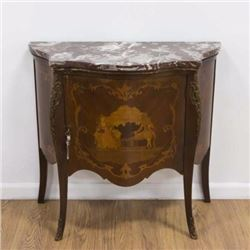 :Louis XV Style Inlaid Marble Top Side Cabinet
