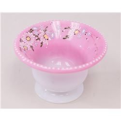 Pairpoint Pink Glass Bowl w/ Enamel Floral Design
