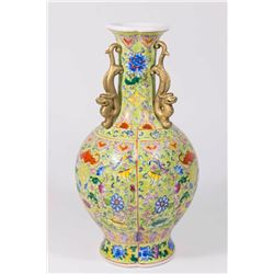 Chinese 3-Handle Vase with Dragons