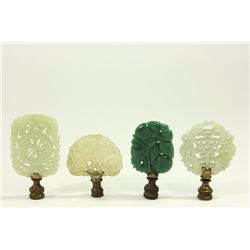 Lot 4 Chinese Jade & Hardstone Lamp Finials