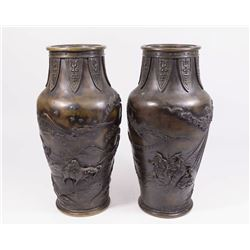 Pair Japanese Bronze Vases