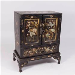 Japanese Lacquer & Mother of Pearl Jewelry Case