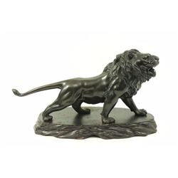 Signed Japanese Meiji Bronze Lion on Wood Base