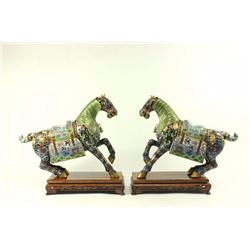 Pair Chinese Cloisonné Horses on Wood Stands