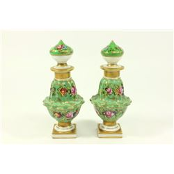 Pair Hand Painted Porcelain Sèvres Style Bottles