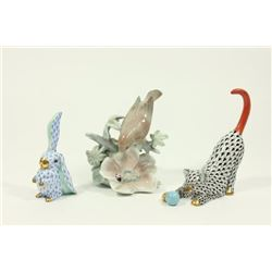 2 Herend Figurines & 1 Lladro Figurine
