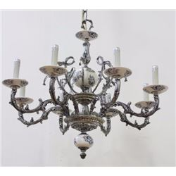 Dutch Silverplate & Porcelain 8-Light Fixture