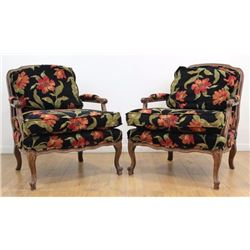 Pair Country French Open Arm Chairs