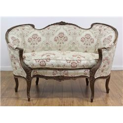 Italian Carved Walnut Loveseat