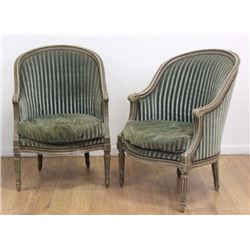 Pair Bergere Chairs with Green Upholstery