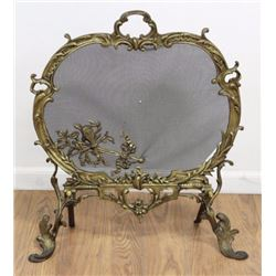 Louis XV Style Cast Brass Fire Screen
