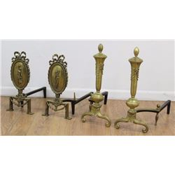 2 Pairs Louis XVI Style Brass Chenets