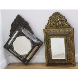 2 Pressed Brass Framed Hanging Mirrors