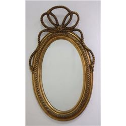 Gilt Framed Oval Bowknot Mirror
