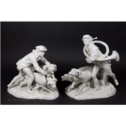 Pair Royal Vienna Blanc de Chine Hunt Scenes