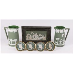 Lot of Green & White Wedgwood Style Items
