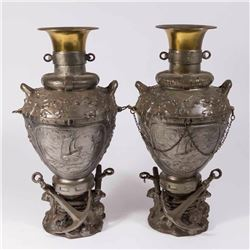 Pair Spelter Urns with Maritime Theme