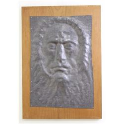 Gauss Metal Mask of Face Mounted on Wood