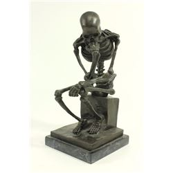 Contemporary Bronze Seated Death Figure