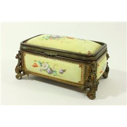19th/20th Century Bronze & Enamel Footed Box