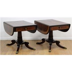 Pair Mahogany Drop-Leaf Banded 1-Drawer Tables
