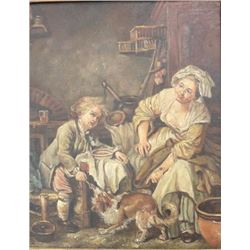 Interior Scene, Mother & Child with Dog