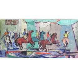 Mid-Century Oil on Board, Carousel