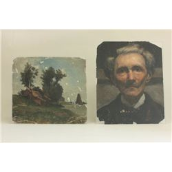 2 Works, Portrait of Man & Village Scene