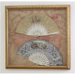 2 Antique Hand Painted  Fans in Frame