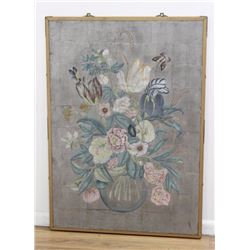 Painted Floral Panel with Butterflies