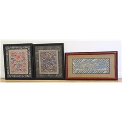 3 Chinese Embroideries on Silk