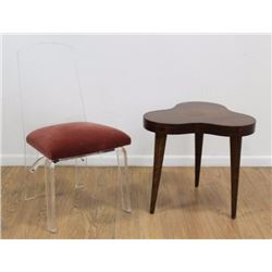 Mid-Century Amorphous Side Table & Lucite Chair