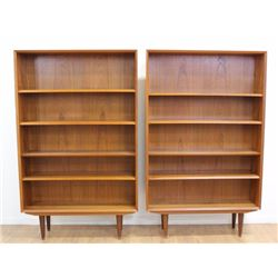 Pair Danish Modern Teak Open Bookcases