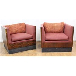 Pair Milo Baughman Rosewood Club Chairs