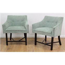 Pair Harvey Probber Ebonized Club Chairs
