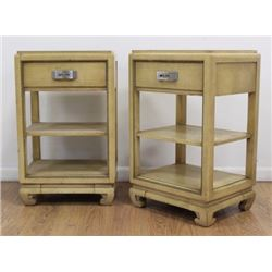 Pair Eliel Saarenin Cream Lacquer Bedside Chests