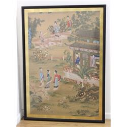 Chinese Watercolor Framed Painting on Rice Paper