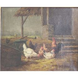 Eugene Fromentin, Barnyard Scene with Chickens