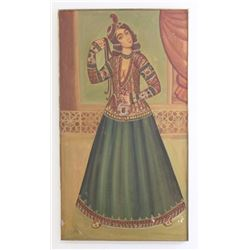 Quajar Style Persian Painting on Panel of Dancer