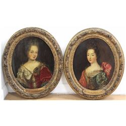 Pair French Oval Portraits of Ladies