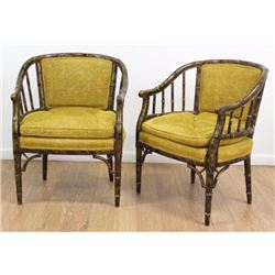 Pair Mid-Century Modern Faux Bamboo Armchairs