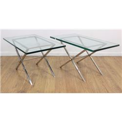 Pair 70s X-Form Chrome & Glass Side Tables