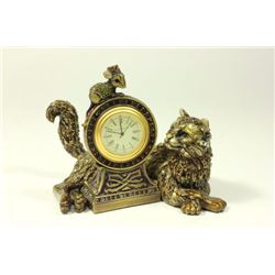 Jay Strongwater Reclining Cat & Mouse Clock