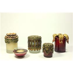 5 Jay Strongwater Enamel & Jeweled Candle Toppers