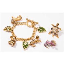 Jay Strongwater Charm Bracelet & 2 Pins