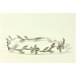 14K White Gold & Diamond Floral Bracelet